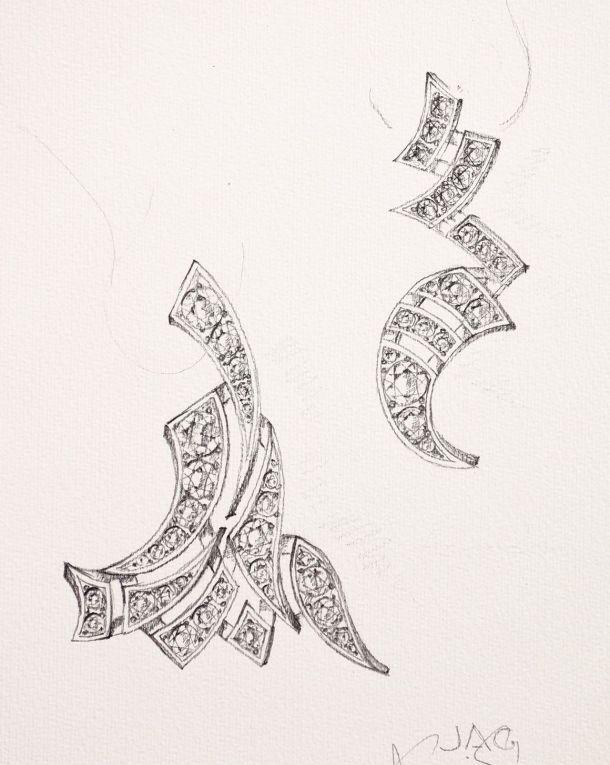Using the tsuketatefude, the bamboo-handled Japanese calligraphic brush, as inspiration for pendant earrings